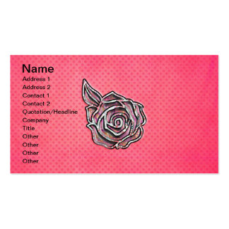 Pink cute girly floral polka dot pattern Double-Sided standard business cards (Pack of 100)