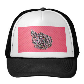 Pink cute girly floral polka dot pattern trucker hat