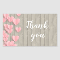 Pink Cute Hearts On A Barn Wood Thank You Rectangular Sticker
