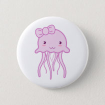 Pink Cute Jellyfish Button