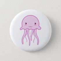 Pink Cute Jellyfish Pinback Button