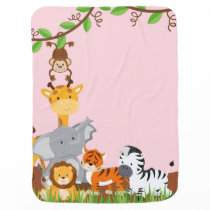 Pink Cute Jungle Baby Animal Baby Blanket