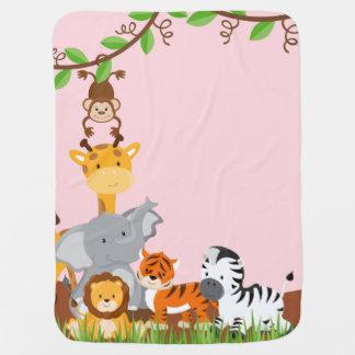 Pink Cute Jungle Baby Animal Baby Blanket