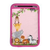 Pink Cute Jungle Baby Animal iPad Mini Sleeve
