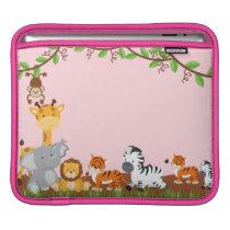 Pink Cute Jungle Baby Animal iPad Sleeve