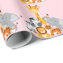 Pink Cute Jungle Baby Animal Wrapping Paper