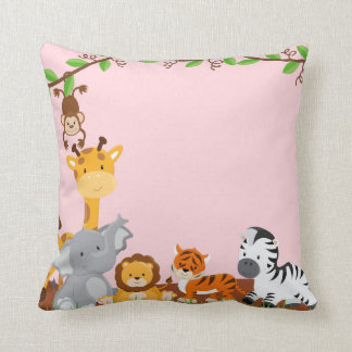 Pink Cute Jungle Baby Animals Pillow