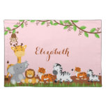Pink Cute Jungle Baby Animals Placemat Cloth Place Mat
