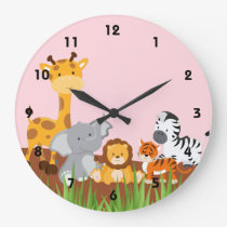 Pink Cute Jungle Baby Animals Wall Clocks