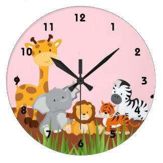 Pink Cute Jungle Baby Animals Wall Clocks Wallclock