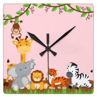 Pink Cute Jungle Baby Animals Wall Clocks