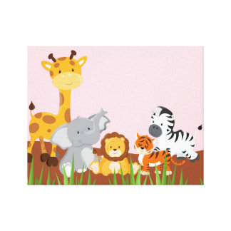 Pink Cute Jungle Baby Animals Wrapped Canvas