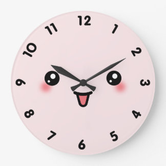 Pink Cute Kawaii Face Large Clock