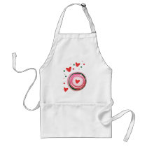 pink cute love circle adult apron