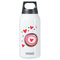 pink cute love circle insulated water bottle