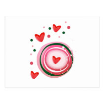 pink cute love circle postcard