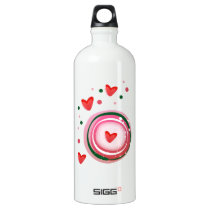 pink cute love circle water bottle