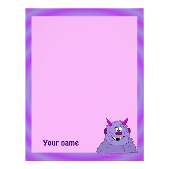 Pink Cute Monster Personalized Stationery for Kids