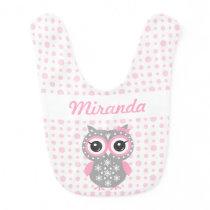 Pink Cute Owl Baby Girl Baby Bib