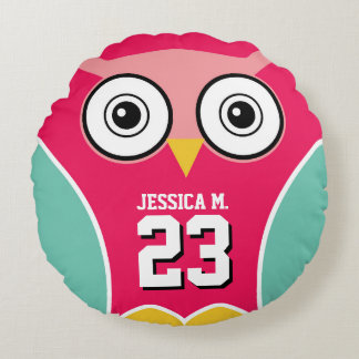 Pink Cute Owl Cartoon Sports Team Round Pillow