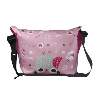 Pink,cute,owl,funny,girly,pattern,trendy,template, Courier Bags