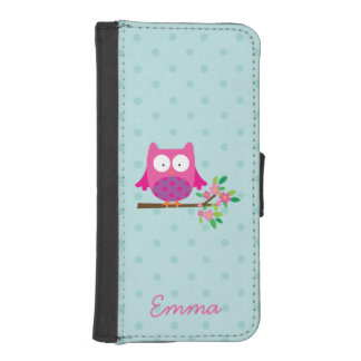 Pink Cute Owl Personalized iPhone 5/5s Wallet Case Phone Wallet Cases