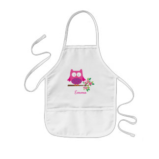 Pink Cute Owl Personalized Kids Apron