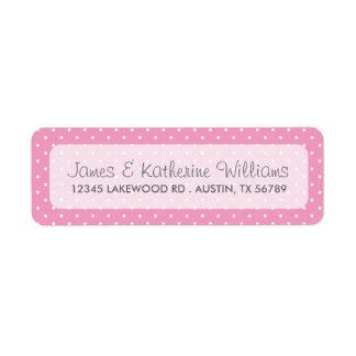 Pink Cute Polka Dots Modern Wedding Label