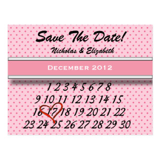 Pink CUTE Save the Date Custom Calandar Postcard