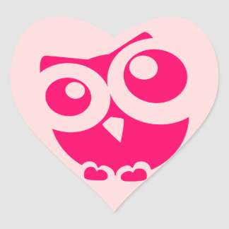 Pink Cute Simple Owl Stickers