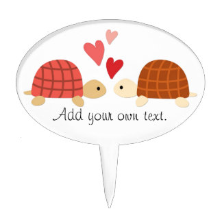 Pink cute turtle love couple cake topper