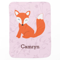 Pink Cute Woodland Fox Baby Blanket