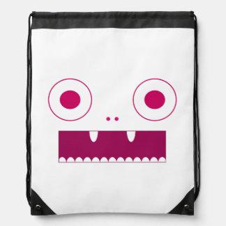 Pink cutsie monsters drawstring backpack