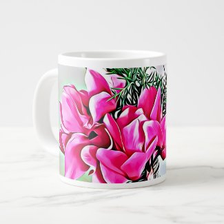 Pink Cyclamen, floral, botany bone china cup
