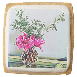 Pink Cyclamen, floral bouquet, botany cookies