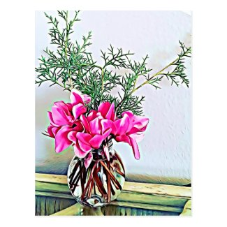 Pink Cyclamen, floral bouquet - happy postcard