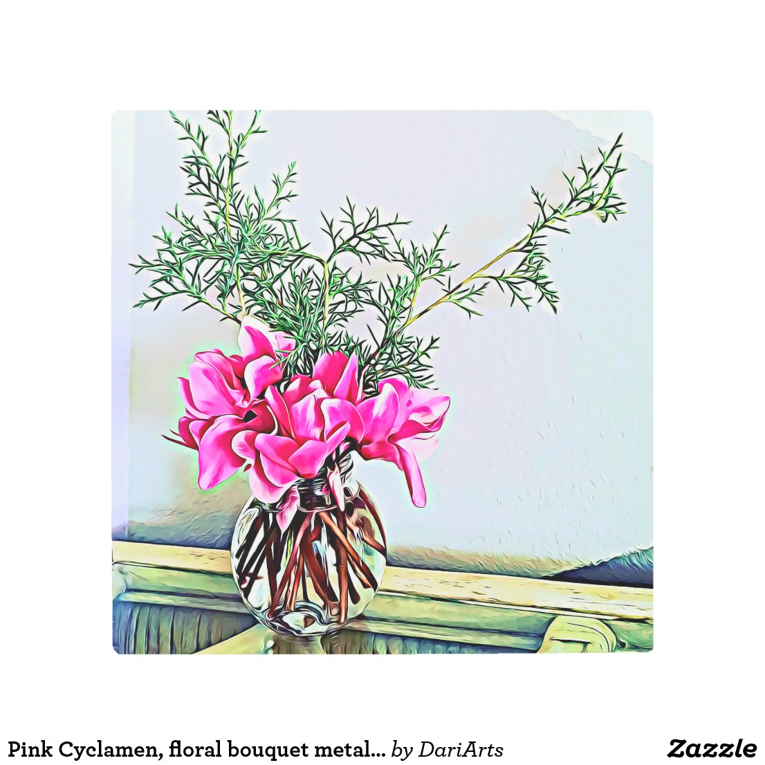 Pink Cyclamen, floral bouquet metal wall art print