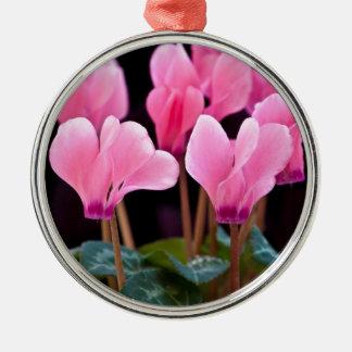 Pink Cyclamen Metal Ornament