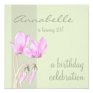 Pink Cyclamens green Birthday Invitation