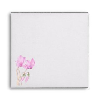 Pink Cyclamens Invitation Envelope envelope