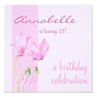 Pink Cyclamens pink Birthday Invitation