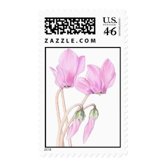 Pink Cyclamens Stamp stamp