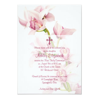 Pink Cymbidium Orchid First Communion Invitation