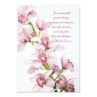 Pink Cymbidium Orchid Floral Graduation Invitation