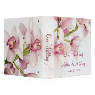 Pink Cymbidium Orchid Floral Wedding Binder