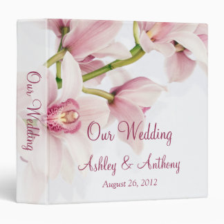 Pink Cymbidium Orchid Floral Wedding Binder