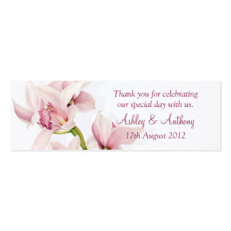 Pink Cymbidium Orchid Floral Wedding Favor Tags Mini Business Card