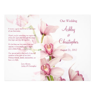 Pink Cymbidium Orchid Floral Wedding Program