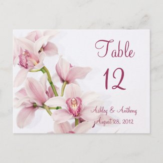 Pink Cymbidium Orchid Floral Wedding Table Card