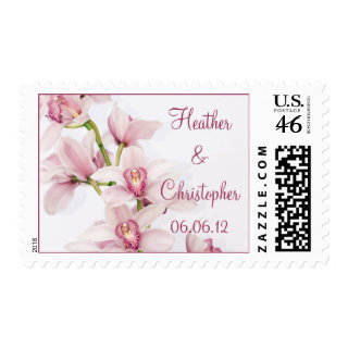 Pink Cymbidium Orchid Personalized Wedding Postage